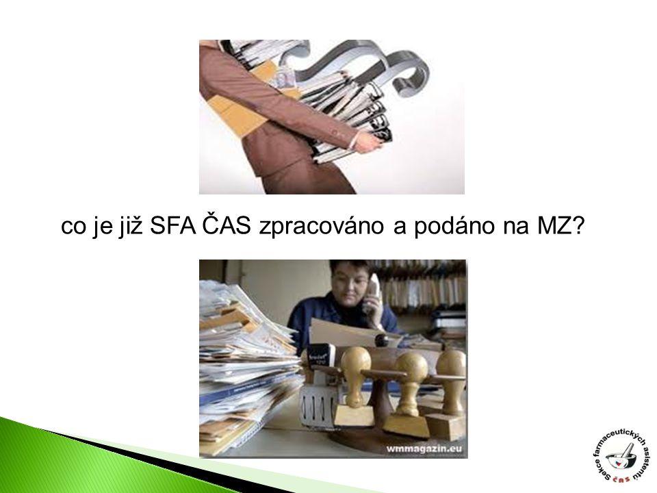 co je již SFA ČAS zpracováno a podáno na MZ?