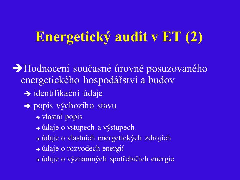 Energetický audit v ET (2)  Hodnocení současné úrovně posuzovaného energetického hospodářství a budov  identifikační údaje  popis výchozího stavu  vlastní popis  údaje o vstupech a výstupech  údaje o vlastních energetických zdrojích  údaje o rozvodech energií  údaje o významných spotřebičích energie