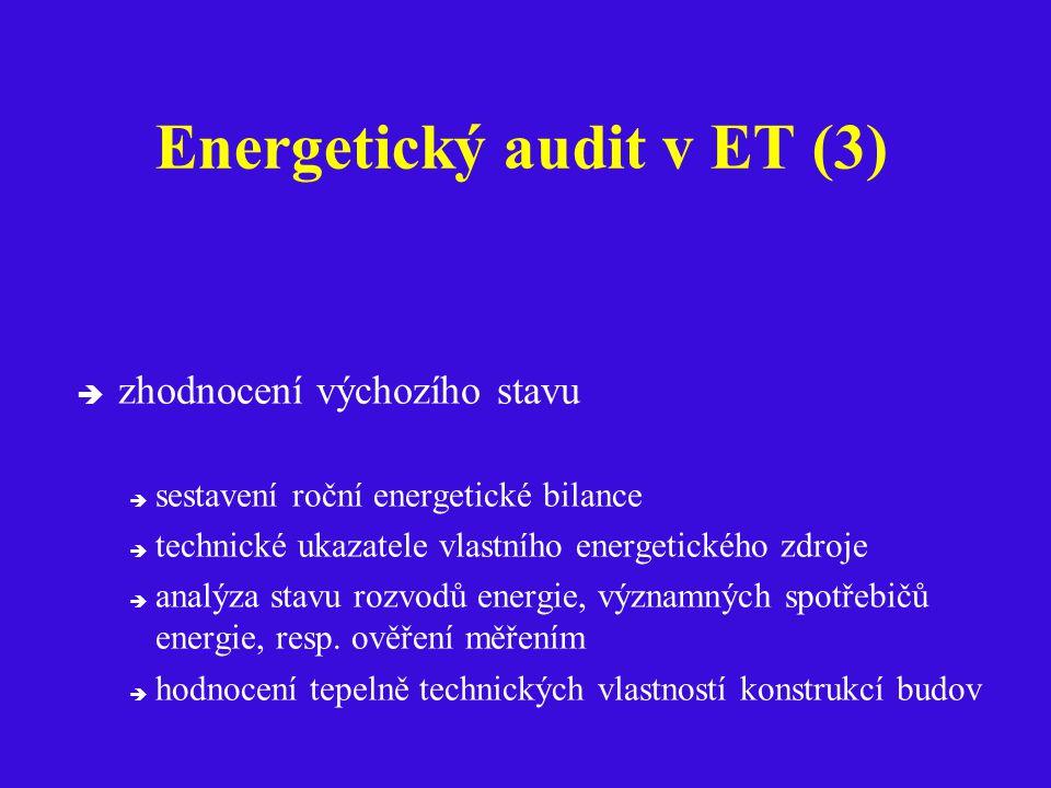Energetický audit v ET (3)  zhodnocení výchozího stavu  sestavení roční energetické bilance  technické ukazatele vlastního energetického zdroje  analýza stavu rozvodů energie, významných spotřebičů energie, resp.