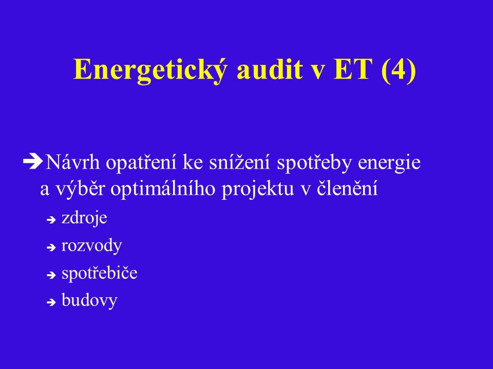 Energetický audit v ET (4)  Návrh opatření ke snížení spotřeby energie a výběr optimálního projektu v členění  zdroje  rozvody  spotřebiče  budovy