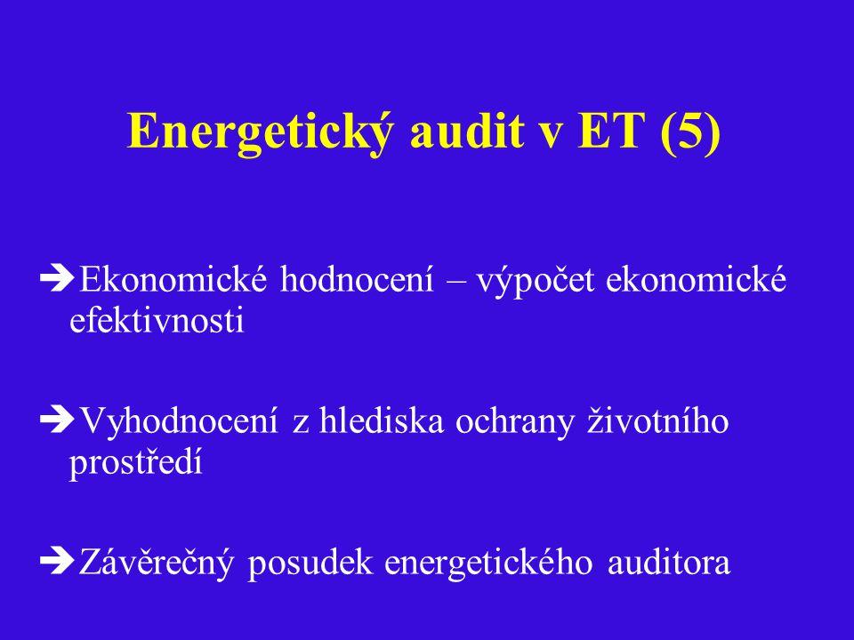 Energetický audit v ET (5)  Ekonomické hodnocení – výpočet ekonomické efektivnosti  Vyhodnocení z hlediska ochrany životního prostředí  Závěrečný posudek energetického auditora