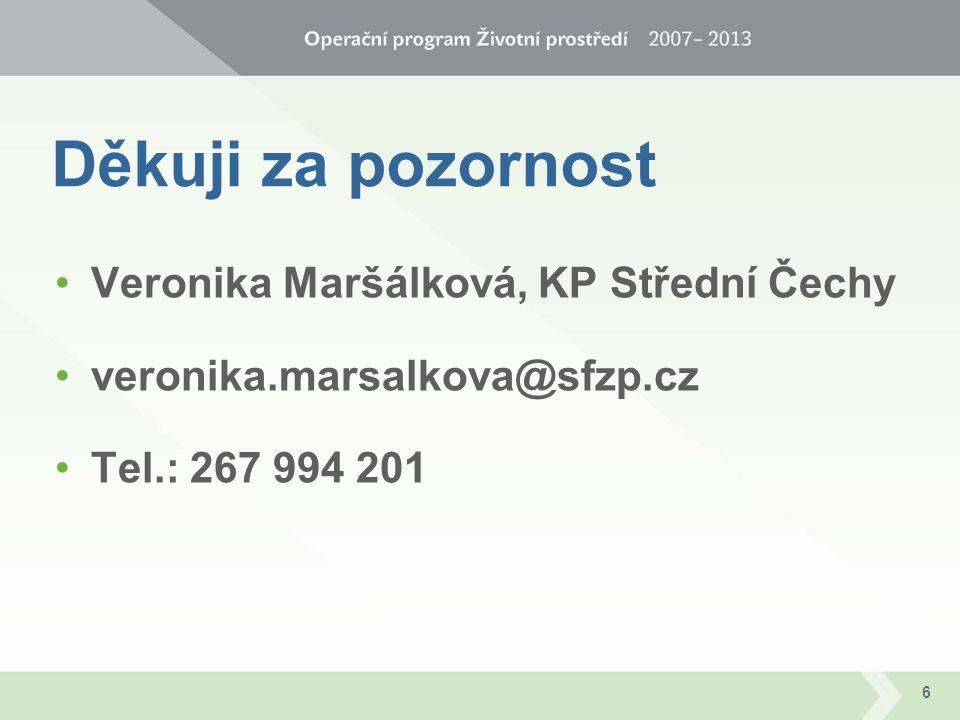 Děkuji za pozornost Veronika Maršálková, KP Střední Čechy veronika.marsalkova@sfzp.cz Tel.: 267 994 201 6