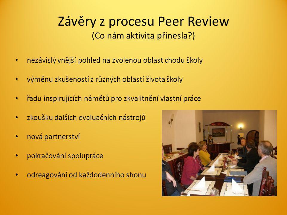 Závěry z procesu Peer Review (Co nám aktivita přinesla ) nezávislý vnější pohled na zvolenou oblast chodu školy výměnu zkušeností z různých oblastí života školy řadu inspirujících námětů pro zkvalitnění vlastní práce zkoušku dalších evaluačních nástrojů nová partnerství pokračování spolupráce odreagování od každodenního shonu