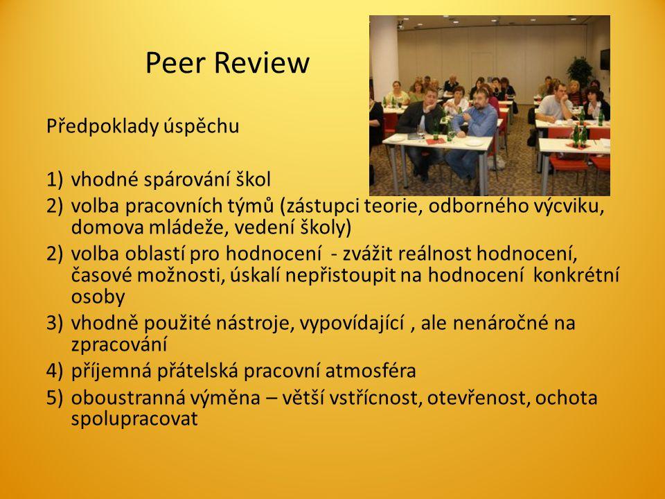 Peer Review Předpoklady úspěchu 1)vhodné spárování škol 2)volba pracovních týmů (zástupci teorie, odborného výcviku, domova mládeže, vedení školy) 2)volba oblastí pro hodnocení - zvážit reálnost hodnocení, časové možnosti, úskalí nepřistoupit na hodnocení konkrétní osoby 3)vhodně použité nástroje, vypovídající, ale nenáročné na zpracování 4)příjemná přátelská pracovní atmosféra 5)oboustranná výměna – větší vstřícnost, otevřenost, ochota spolupracovat