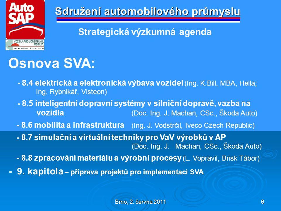 Brno, 2.června 2011 7 Sdružení automobilového průmyslu - stěžejní části SVA - kapitoly 7.
