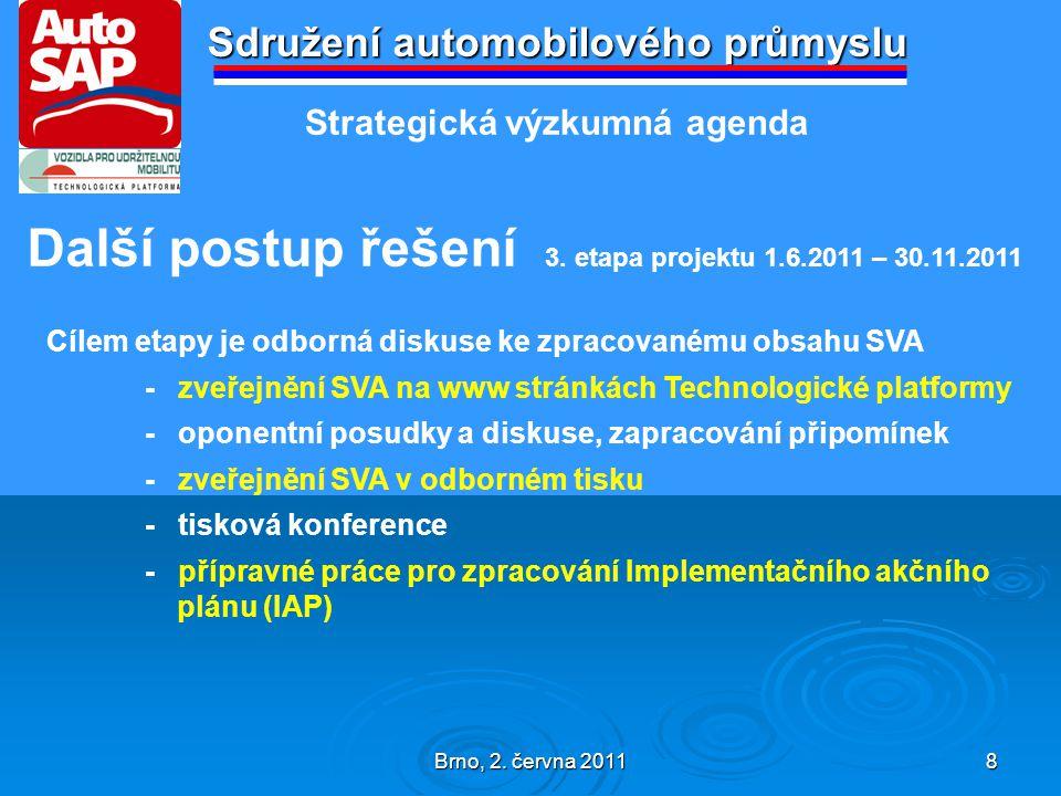 Brno, 2. června 2011 8 Sdružení automobilového průmyslu Další postup řešení 3.
