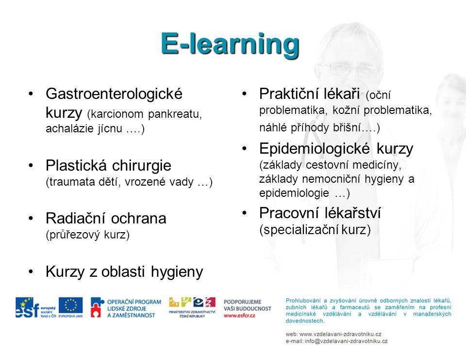 E-learning Gastroenterologické kurzy (karcionom pankreatu, achalázie jícnu ….) Plastická chirurgie (traumata dětí, vrozené vady …) Radiační ochrana (p