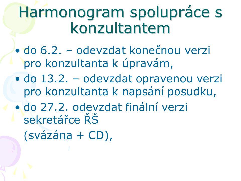 Harmonogram spolupráce s konzultantem do 6.2. – odevzdat konečnou verzi pro konzultanta k úpravám, do 13.2. – odevzdat opravenou verzi pro konzultanta