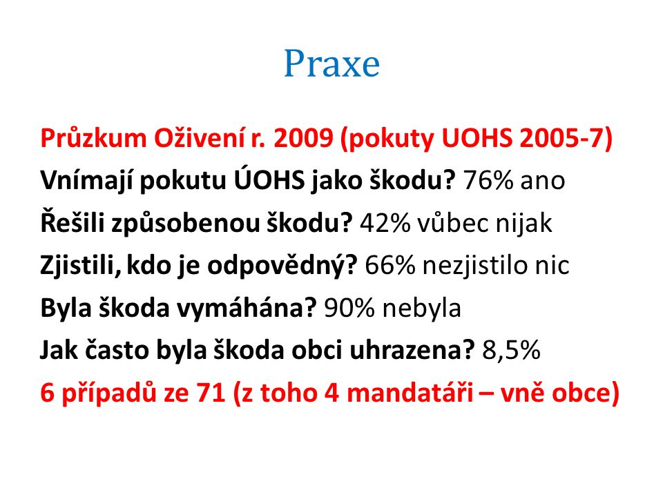 Praxe Průzkum Oživení r.2009 (pokuty UOHS 2005-7) Vnímají pokutu ÚOHS jako škodu.