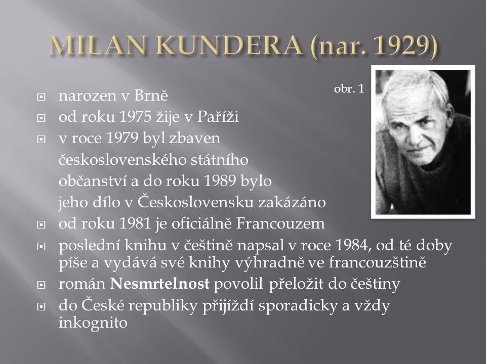  autor básní, povídek, románů, esejů, divadelních her  prozaickou prvotinou byl román Žert (1967)  příběh se odehrává v 50.