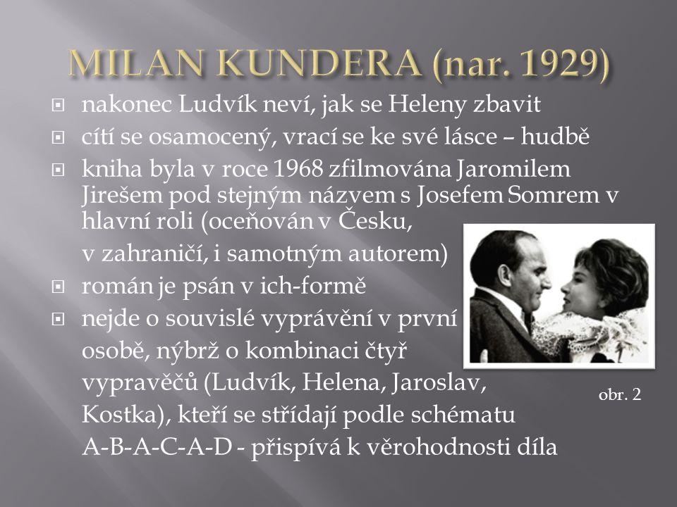  nakonec Ludvík neví, jak se Heleny zbavit  cítí se osamocený, vrací se ke své lásce – hudbě  kniha byla v roce 1968 zfilmována Jaromilem Jirešem pod stejným názvem s Josefem Somrem v hlavní roli (oceňován v Česku, v zahraničí, i samotným autorem)  román je psán v ich-formě  nejde o souvislé vyprávění v první osobě, nýbrž o kombinaci čtyř vypravěčů (Ludvík, Helena, Jaroslav, Kostka), kteří se střídají podle schématu A-B-A-C-A-D - přispívá k věrohodnosti díla obr.