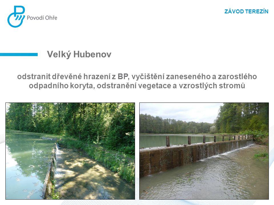 Velký Hubenov odstranit dřevěné hrazení z BP, vyčištění zaneseného a zarostlého odpadního koryta, odstranění vegetace a vzrostlých stromů ZÁVOD TEREZÍ