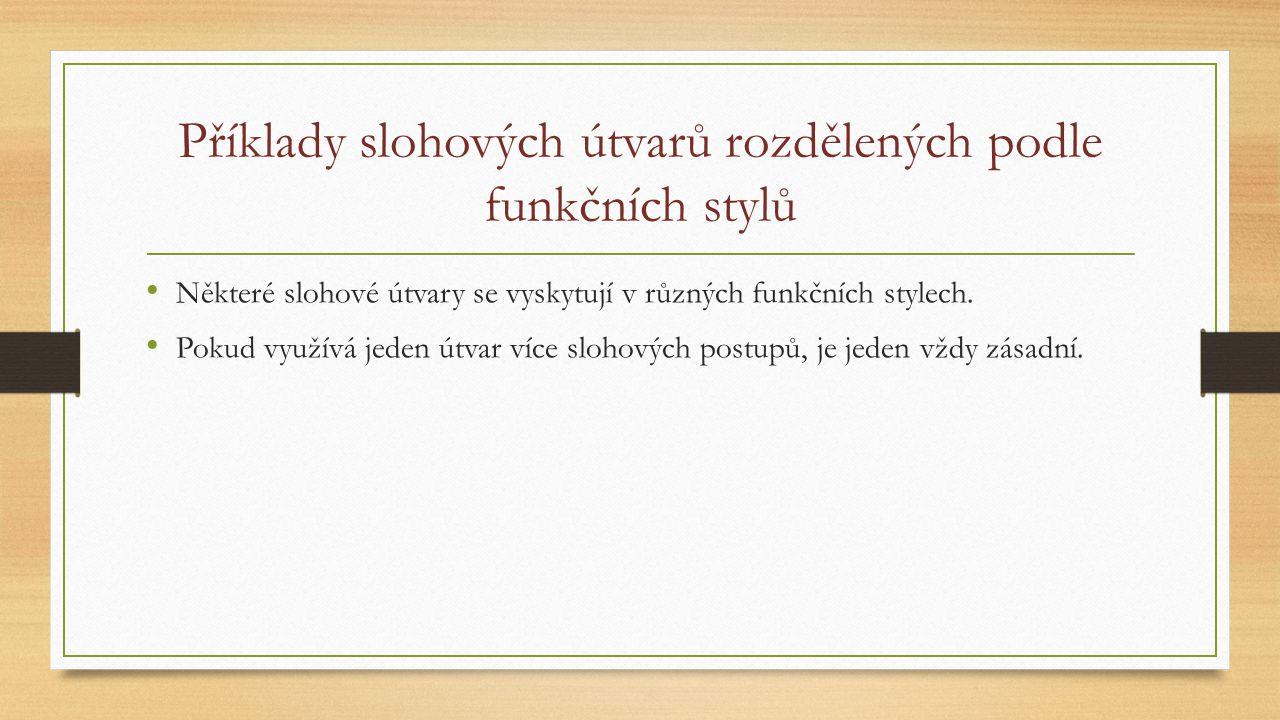 Příklady slohových útvarů rozdělených podle funkčních stylů Některé slohové útvary se vyskytují v různých funkčních stylech. Pokud využívá jeden útvar