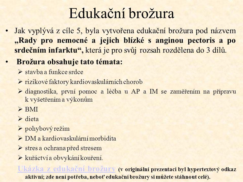 """Edukační brožura Jak vyplývá z cíle 5, byla vytvořena edukační brožura pod názvem """"Rady pro nemocné a jejich blízké s anginou pectoris a po srdečním i"""