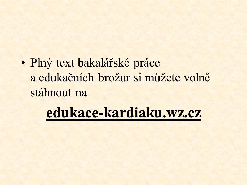 Plný text bakalářské práce a edukačních brožur si můžete volně stáhnout na edukace-kardiaku.wz.cz