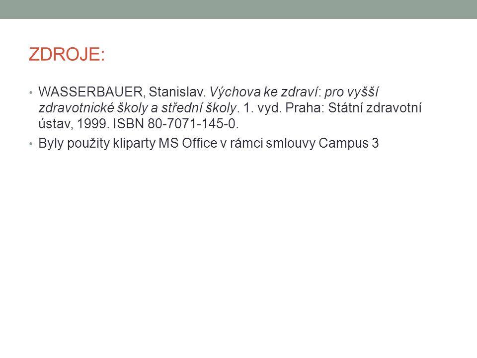 ZDROJE: WASSERBAUER, Stanislav. Výchova ke zdraví: pro vyšší zdravotnické školy a střední školy.