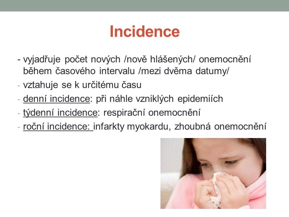 Incidence - vyjadřuje počet nových /nově hlášených/ onemocnění během časového intervalu /mezi dvěma datumy/ - vztahuje se k určitému času - denní incidence: při náhle vzniklých epidemiích - týdenní incidence: respirační onemocnění - roční incidence: infarkty myokardu, zhoubná onemocnění - Prevalence