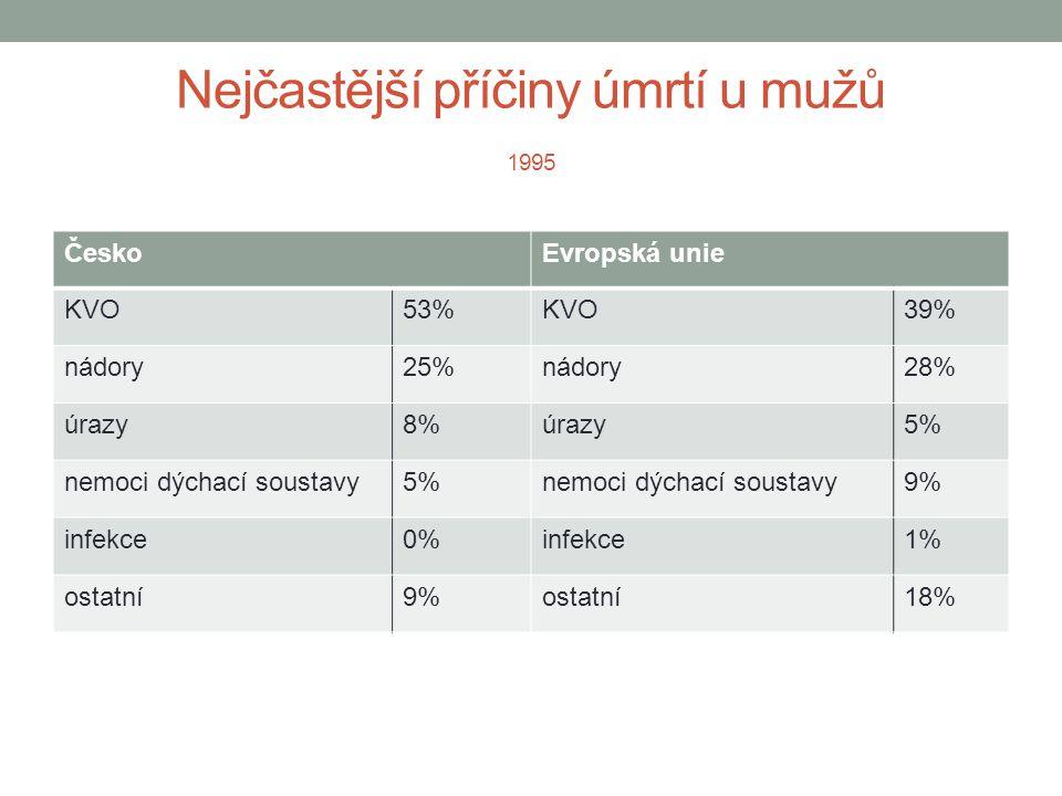 Nejčastější příčiny úmrtí u mužů 1995 ČeskoEvropská unie KVO53%KVO39% nádory25%nádory28% úrazy8%úrazy5% nemoci dýchací soustavy5%nemoci dýchací soustavy9% infekce0%infekce1% ostatní9%ostatní18%