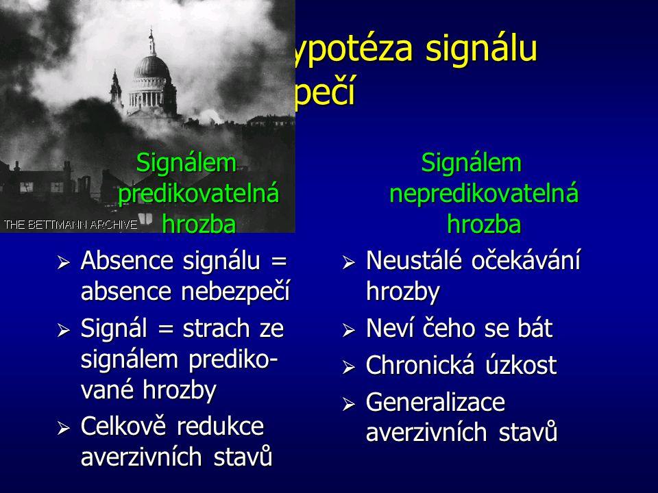 Predikovatelnost a úzkost  Skupina 1 (predikovatelný šok)  Skupina 2 (nepredikovatelný šok) Potenciace kontextem, nikoliv stimulem Potenciace stimul