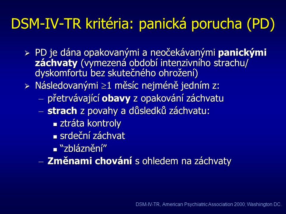 DSM-IV-TR kritéria: generalizovaná úzkostná porucha (GAD)  GAD je definována obavami, které jsou: – nadměrné (  6 měsíců) – pronikavé (pervazivní) –