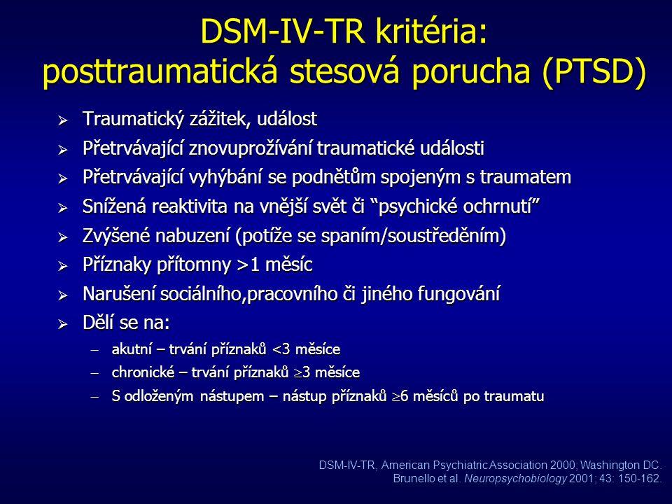 DSM-IV-TR kritéria: panická porucha (PD)  PD je dána opakovanými a neočekávanými panickými záchvaty (vymezená období intenzivního strachu/ dyskomfort