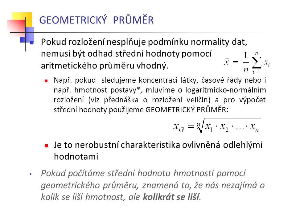 GEOMETRICKÝ PRŮMĚR Pokud rozložení nesplňuje podmínku normality dat, nemusí být odhad střední hodnoty pomocí aritmetického průměru vhodný. Např. pokud