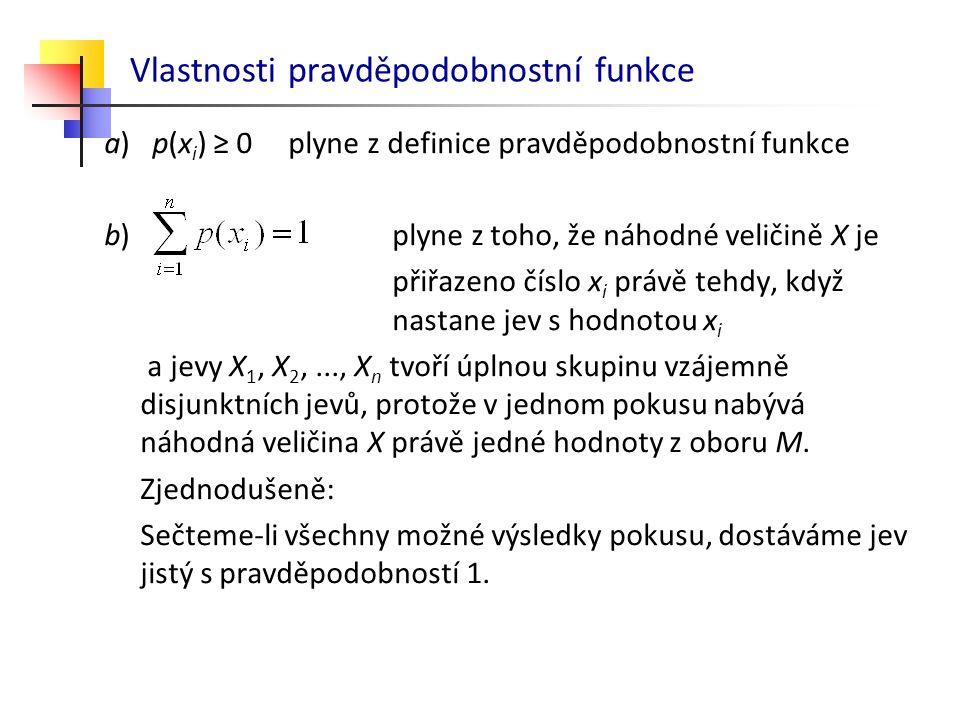 Vlastnosti pravděpodobnostní funkce a) p(x i ) ≥ 0 plyne z definice pravděpodobnostní funkce b) plyne z toho, že náhodné veličině X je přiřazeno číslo