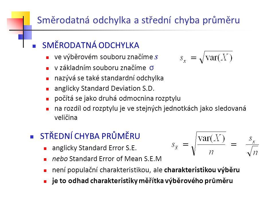Směrodatná odchylka a střední chyba průměru SMĚRODATNÁ ODCHYLKA ve výběrovém souboru značíme s v základním souboru značíme σ nazývá se také standardní odchylka anglicky Standard Deviation S.D.