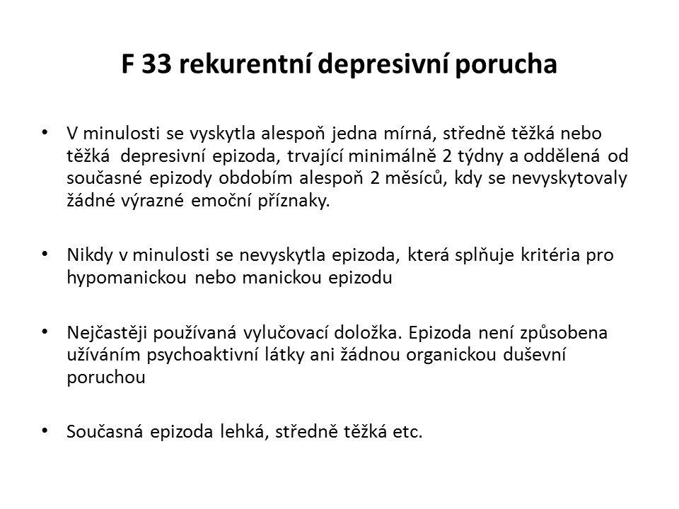 F 33 rekurentní depresivní porucha V minulosti se vyskytla alespoň jedna mírná, středně těžká nebo těžká depresivní epizoda, trvající minimálně 2 týdn