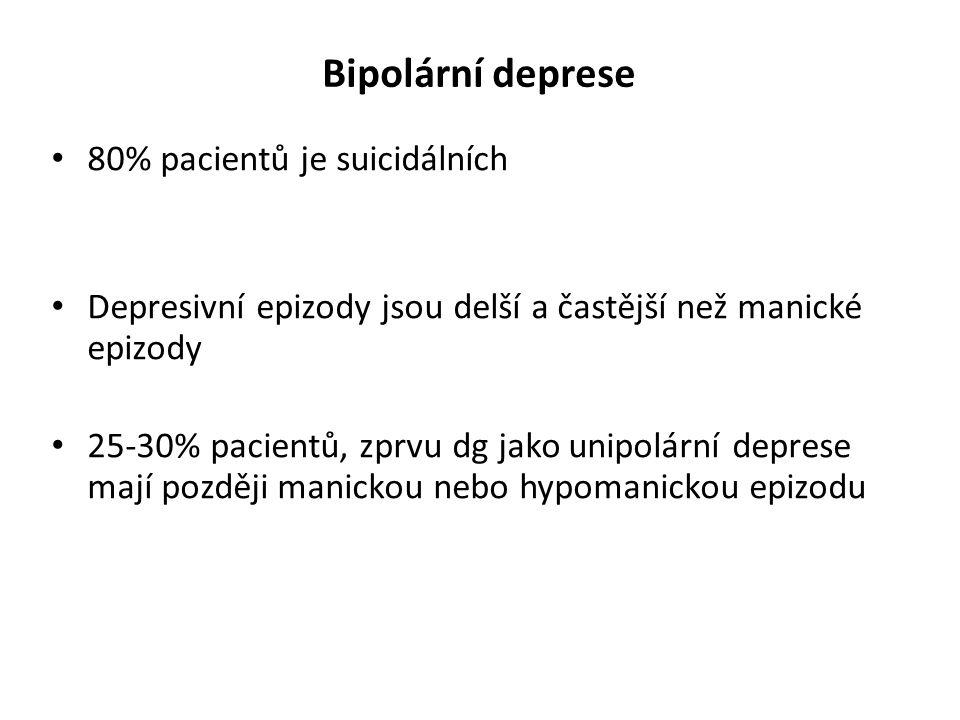 Bipolární deprese 80% pacientů je suicidálních Depresivní epizody jsou delší a častější než manické epizody 25-30% pacientů, zprvu dg jako unipolární