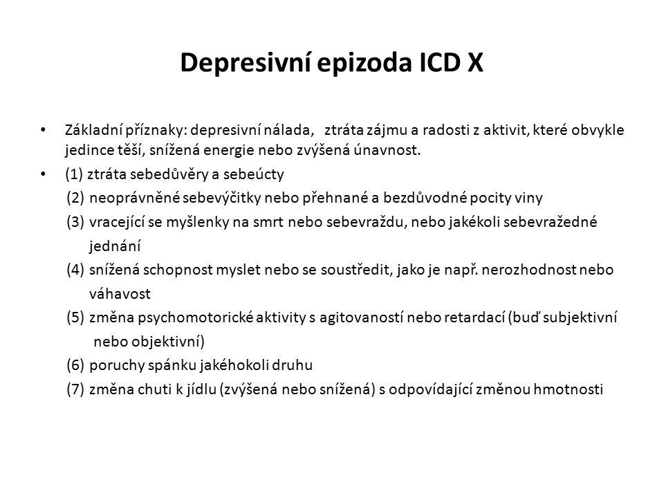 Depresivní epizoda ICD X Základní příznaky: depresivní nálada, ztráta zájmu a radosti z aktivit, které obvykle jedince těší, snížená energie nebo zvýš
