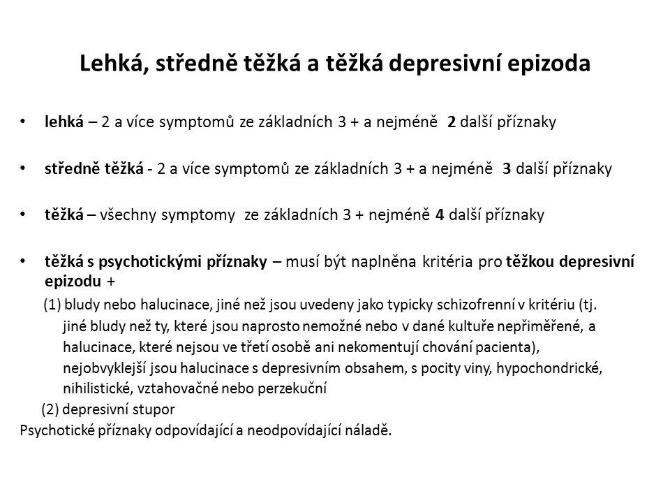 Lehká, středně těžká a těžká depresivní epizoda lehká – 2 a více symptomů ze základních 3 + a nejméně 2 další příznaky středně těžká - 2 a více sympto