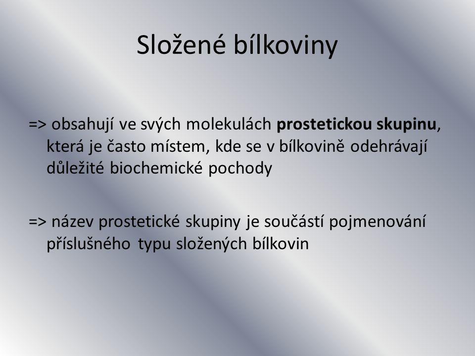 Složené bílkoviny => obsahují ve svých molekulách prostetickou skupinu, která je často místem, kde se v bílkovině odehrávají důležité biochemické pochody => název prostetické skupiny je součástí pojmenování příslušného typu složených bílkovin