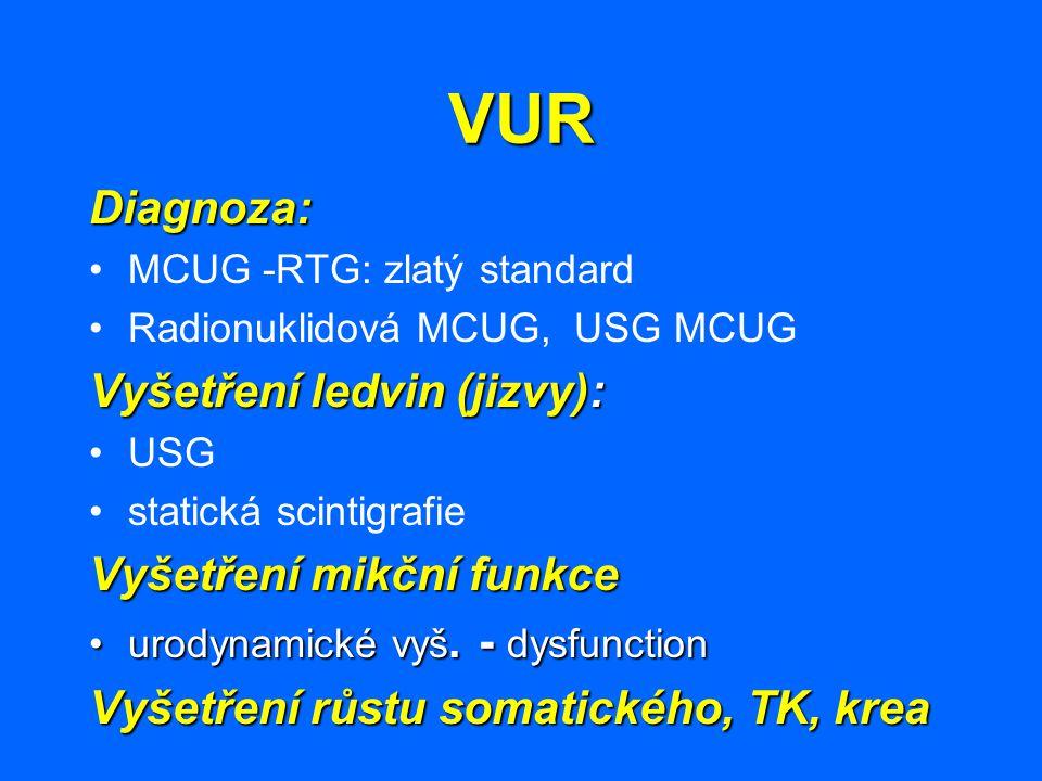 VUR Diagnoza: MCUG -RTG: zlatý standard Radionuklidová MCUG, USG MCUG Vyšetření ledvin (jizvy): USG statická scintigrafie Vyšetření mikční funkce urod