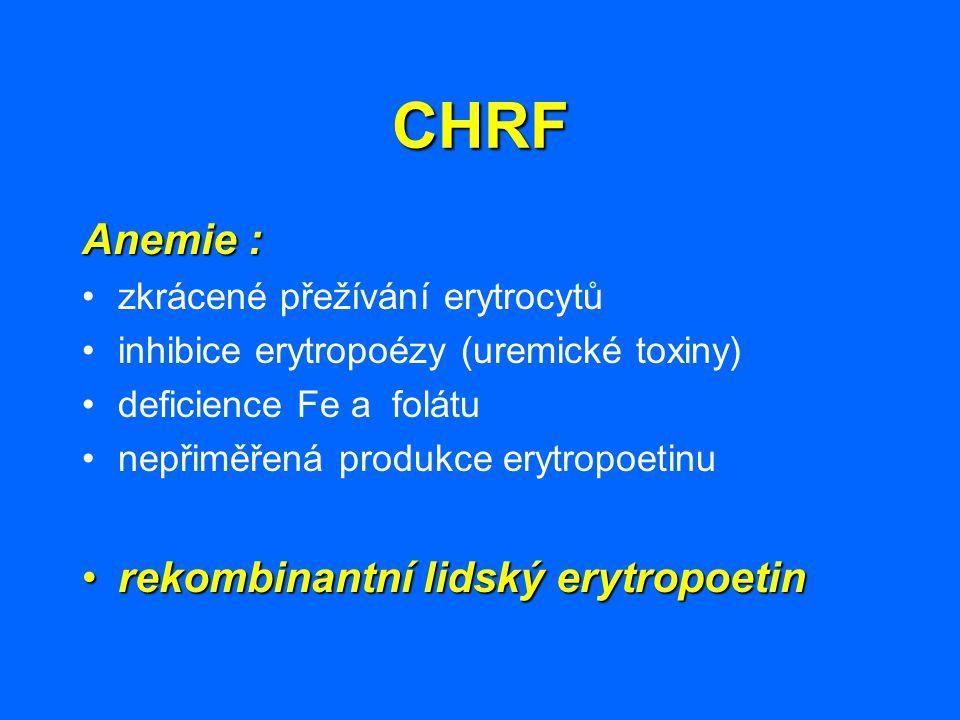 CHRF Anemie : zkrácené přežívání erytrocytů inhibice erytropoézy (uremické toxiny) deficience Fe a folátu nepřiměřená produkce erytropoetinu rekombina