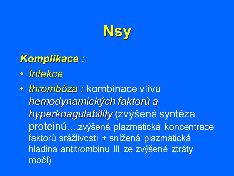 Nsy Komplikace Komplikace : InfekceInfekce thrombóza : hemodynamických faktorů a hyperkoagulabilitythrombóza : kombinace vlivu hemodynamických faktorů