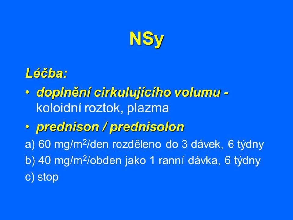 NSy Léčba: doplnění cirkulujícího volumu -doplnění cirkulujícího volumu - koloidní roztok, plazma prednison / prednisolonprednison / prednisolon a) 60