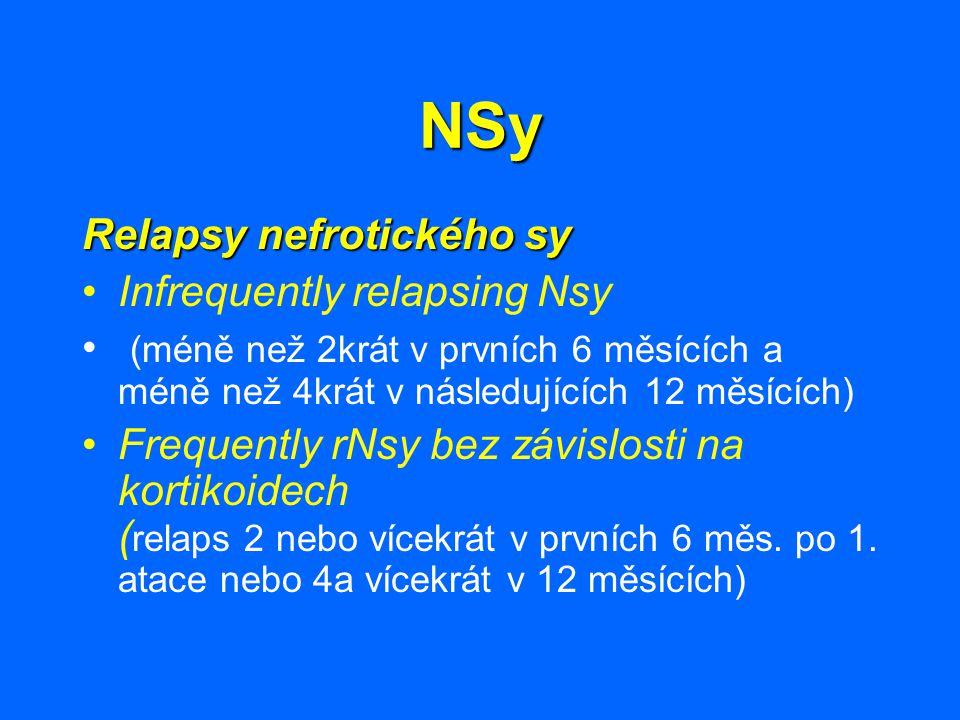 NSy Relapsy nefrotického sy Infrequently relapsing Nsy (méně než 2krát v prvních 6 měsících a méně než 4krát v následujících 12 měsících) Frequently r