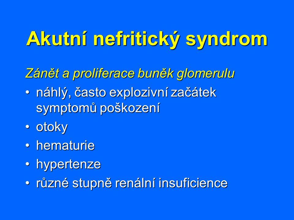 Akutní nefritický syndrom Zánět a proliferace buněk glomerulu náhlý, často explozivní začátek symptomů poškozenínáhlý, často explozivní začátek sympto