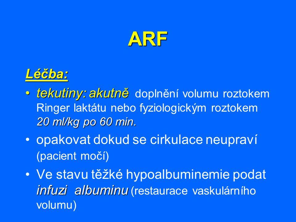 ARF Léčba: tekutiny: akutně 20 ml/kg po 60 min.tekutiny: akutně doplnění volumu roztokem Ringer laktátu nebo fyziologickým roztokem 20 ml/kg po 60 min