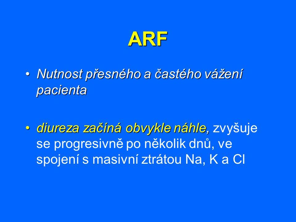 ARF Nutnost přesného a častého vážení pacientaNutnost přesného a častého vážení pacienta diureza začíná obvykle náhle,diureza začíná obvykle náhle, zv