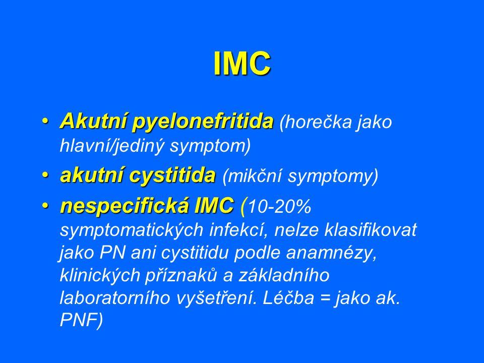 IMC Akutní pyelonefritidaAkutní pyelonefritida (horečka jako hlavní/jediný symptom) akutní cystitidaakutní cystitida (mikční symptomy) nespecifická IM