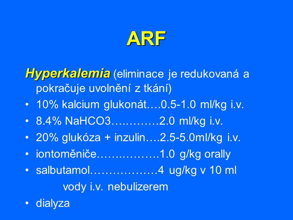 ARF Hyperkalemia Hyperkalemia (eliminace je redukovaná a pokračuje uvolnění z tkání) 10% kalcium glukonát….0.5-1.0 ml/kg i.v. 8.4% NaHCO3….………2.0 ml/k