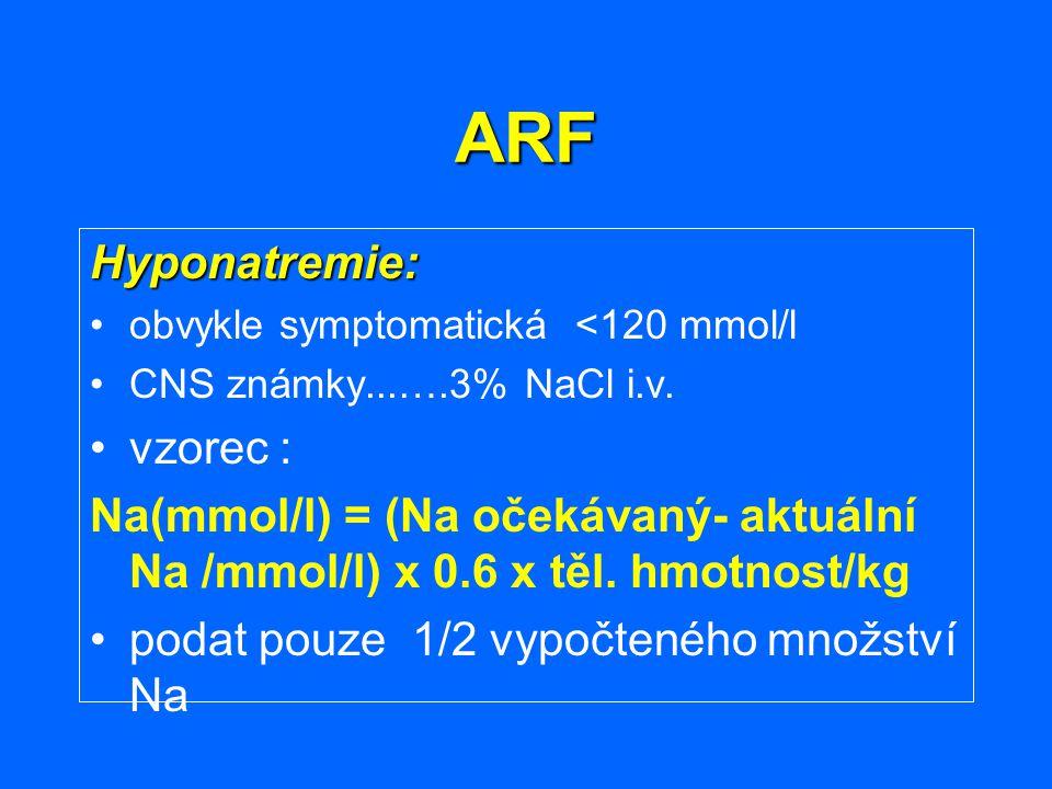 ARF Hyponatremie: obvykle symptomatická <120 mmol/l CNS známky...….3% NaCl i.v. vzorec : Na(mmol/l) = (Na očekávaný- aktuální Na /mmol/l) x 0.6 x těl.