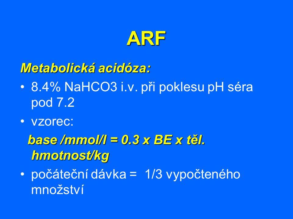 ARF Metabolická acidóza: 8.4% NaHCO3 i.v. při poklesu pH séra pod 7.2 vzorec: base /mmol/l = 0.3 x BE x těl. hmotnost/kg base /mmol/l = 0.3 x BE x těl