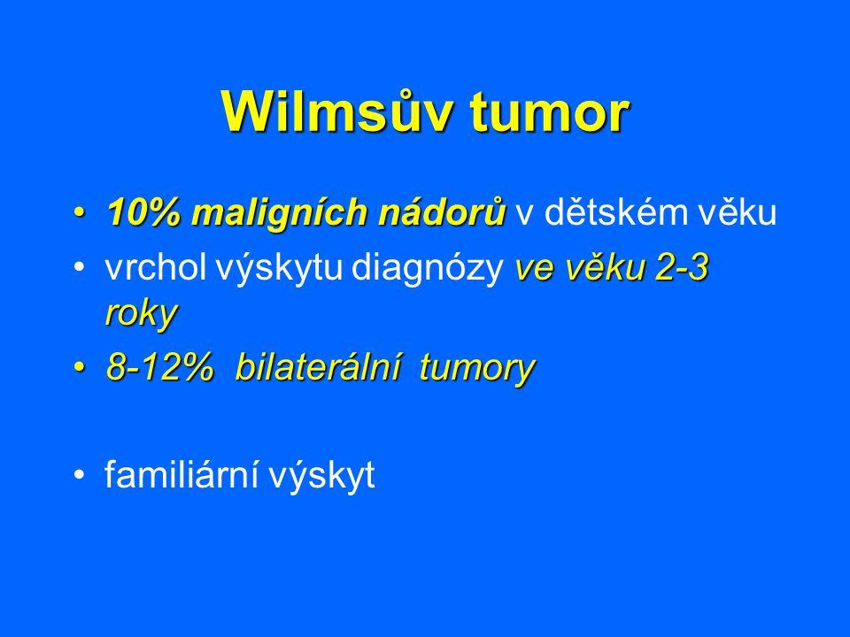 10% maligních nádorů10% maligních nádorů v dětském věku ve věku 2-3 rokyvrchol výskytu diagnózy ve věku 2-3 roky 8-12% bilaterální tumory8-12% bilater