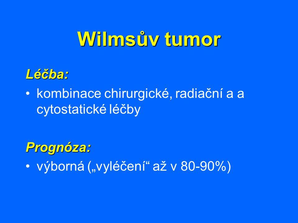 """Wilmsův tumor Léčba: kombinace chirurgické, radiační a a cytostatické léčbyPrognóza: výborná (""""vyléčení"""" až v 80-90%)"""