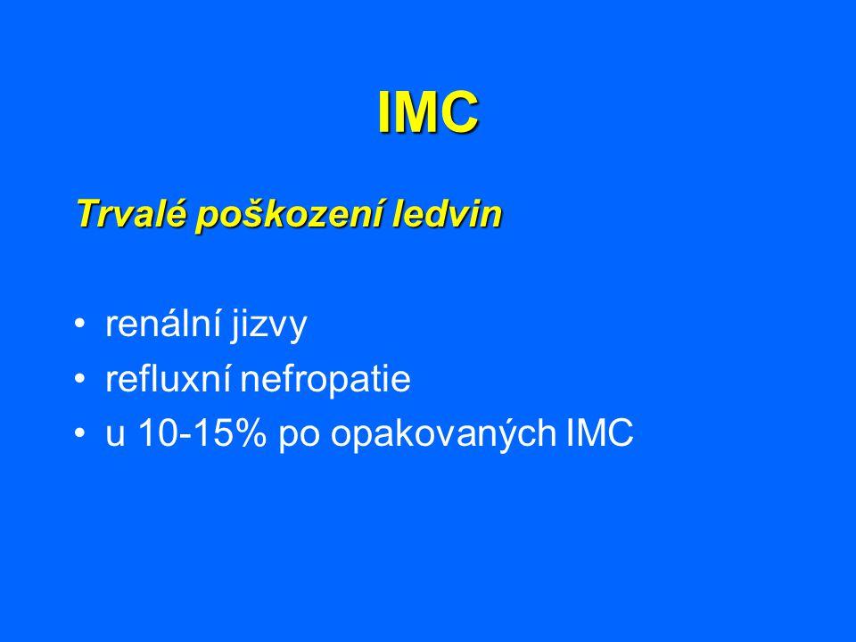 IMC Rizikové faktory renálního jizvení Rizikové faktory renálního jizvení : obstrukce v močových cestáchobstrukce v močových cestách vezikoureterální reflux s dilatacívezikoureterální reflux s dilatací nízký věknízký věk pozdní začátek léčbypozdní začátek léčby bakterie nízké virulencebakterie nízké virulence (působí méně závažné symptomy vedoucí k pozdní diagnostice a léčbě) počet pyelonefritických atakpočet pyelonefritických atak