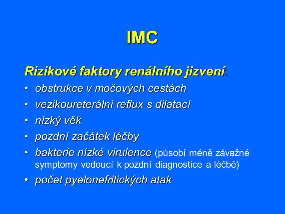 IMC Asymptomatická bakteriurie Asymptomatická bakteriurie: multifaktoriálnípatogeneza multifaktoriální není indikace aktivního vyhledávání zdravých dětí (bakteriurie)není indikace aktivního vyhledávání zdravých dětí (bakteriurie) není důkaz prospěšnosti antibakteriální léčbynení důkaz prospěšnosti antibakteriální léčby normální růst ledvinynormální růst ledviny bez vývoje nových jizev u pacientek, ponechaných bez farmakoterapie