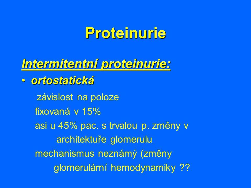 Proteinurie Intermitentní proteinurie: ortostatickáortostatická závislost na poloze fixovaná v 15% asi u 45% pac. s trvalou p. změny v architektuře gl